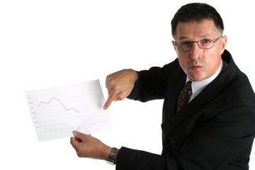 Worried boss showing bad results to his workers