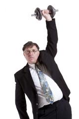 Portrait Of Mature Businessman Lifting Barbell