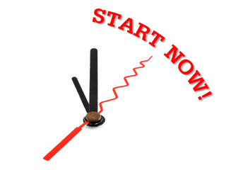"clock and text ""start Now!"""