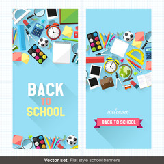 Flat style back to school banners