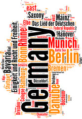 Germany state map vector tag cloud illustration