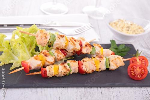 meat kebab and vegetable
