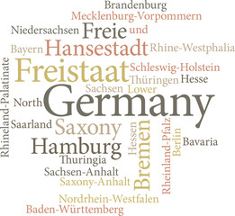 Illustration of the German States in word clouds