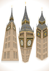 Isometric Big Ben Tower in three positions