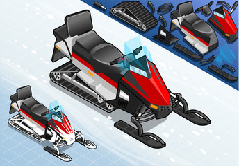 Isometric Snowmobile Motorbike in Front View