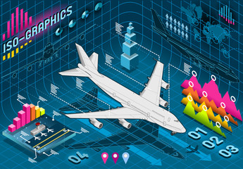 Isometric Infographic Set Elements with Airplane