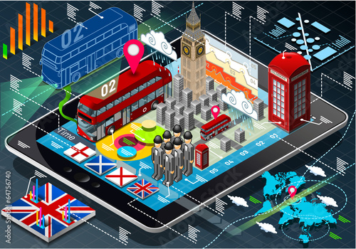 Isometric Infographic of Great Britain on Tablet