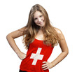 Young Woman with long curly hair and a t-shirt of Switzerland