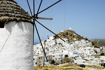 View of the small town of Chora, Ios island, Greece