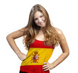 Young Woman with long curly hair and a t-shirt of Spain