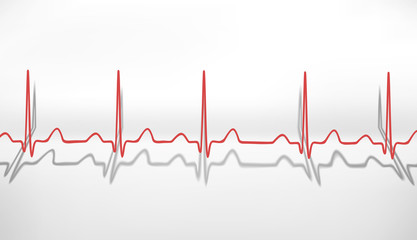 Heartbeat ECG. Volumetric concept. Vector