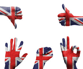 Hand with the flag of the UK
