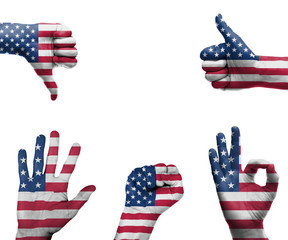 Hand with the flag of the USA