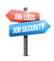 job loss, job security signpost illustration