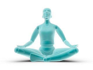 Mannequin sitting practicing yoga and meditating isolated in whi