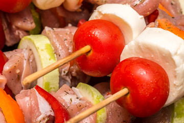 Fresh Shishkabob Skewers Prepared For Barbecue