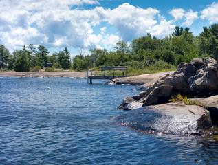 Rock formations on the coast, Georgian Bay, Tobermory, Ontario,