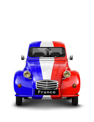 Vieille Automobile bleu blanc rouge France