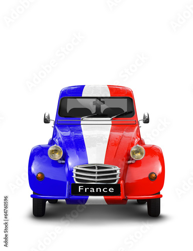 Vieille Automobile bleu blanc rouge France Poster
