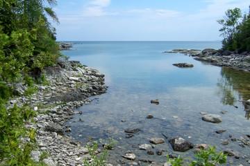 Rock formations at coast, Georgian Bay, Tobermory, Ontario, Cana