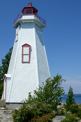 Low angle view of a lighthouse, Big Tub Lighthouse, Manitoulin I