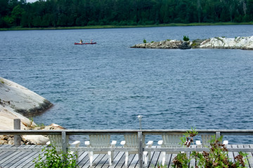 Boat in a bay, Georgian Bay, Tobermory, Ontario, Canada