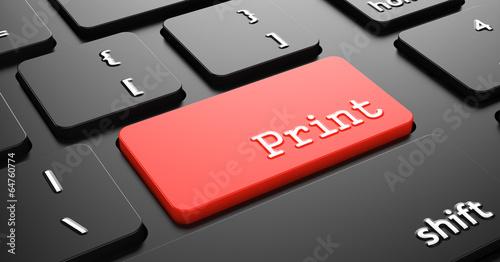 "Leinwandbild Motiv Print on Red Keyboard Button ""Enter""."