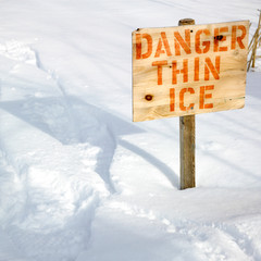 """Warning sign of """"THIN ICE"""" at lakeside, Orangeville, Dufferin Co"""