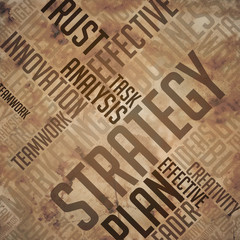 Strategy - Grunge Wordcloud Concept.