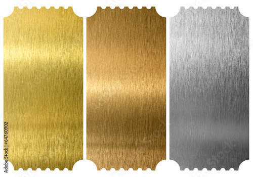 Aluminum, bronze and brass tickets isolated - 64760902