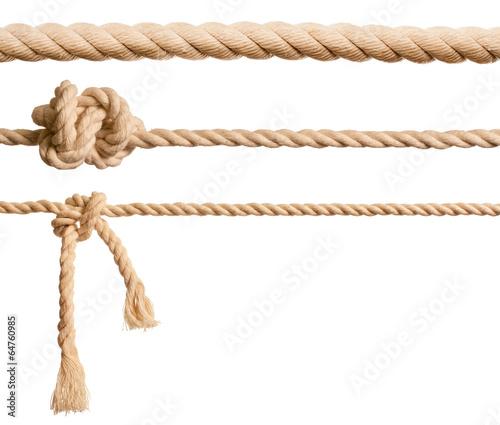 Leinwanddruck Bild Ropes set isolated on white