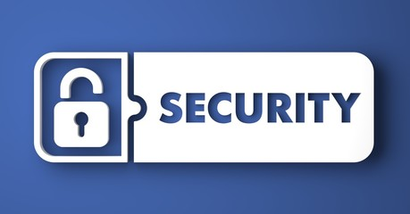 Security Concept on Blue Background in Flat Design.