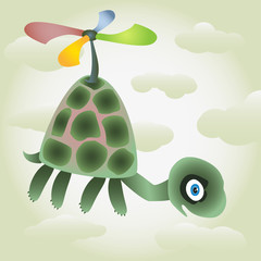 Little turtle fly by the coloured air-screw