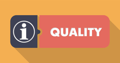 Quality Button in Flat Design on Orange Background.