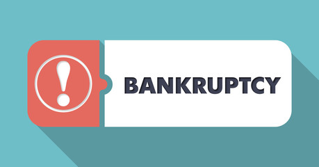 Bankruptcy on Turquoise in Flat Design.