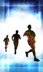 Marathon runners. Vector