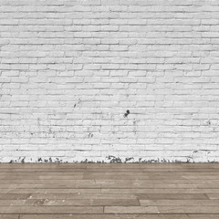 Background interior: brick wall and wood floor