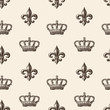 pattern of the crown and french lily