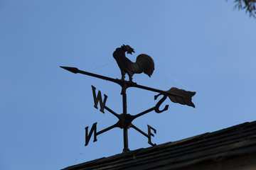 Low angle view of a weather vane, Tobermory, Ontario, Canada
