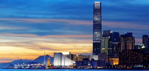 Skyline of Hong Kong at sunset.