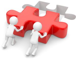 3d Männchen Teamwork passendes Puzzleteil
