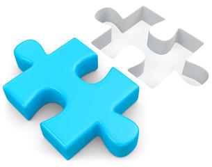 blaues Puzzleteil passend