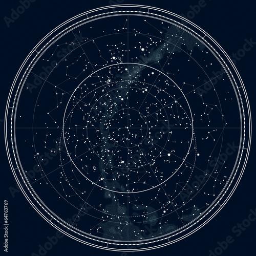 Fototapeta Astronomical Celestial Map of The Northern Hemisphere. Detailed Chart. Night Black Ink version.