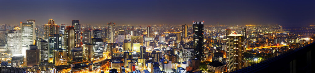 Panoramic Osaka at night, Japan