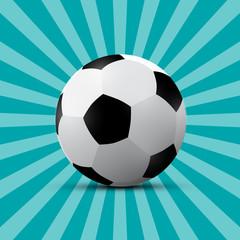 Football Ball on Blue Retro Background