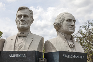Statues at American Statesmanship Park in Houston, Texas