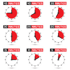 Five to Forty Five Minutes Stop Watch Illustration