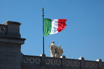 The Italian flag waving at the altar of the Fatherland in Roma-I