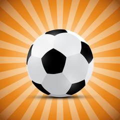 Football Ball on Orange Retro Background
