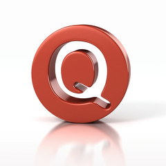 letter Q inside red circle